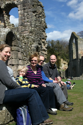 Heidi, Callum, Helen, Mark and Maurice at Fountains Abbey