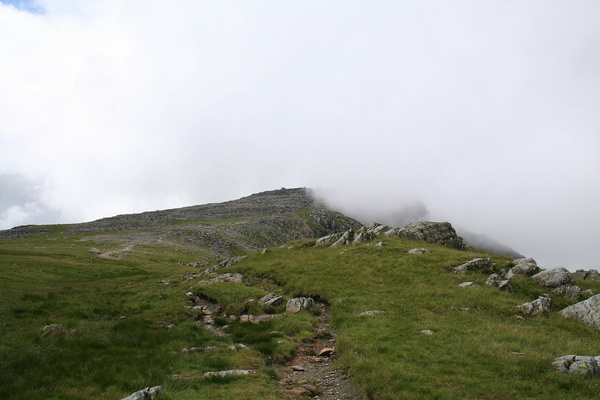 Summit of Glyder Fach disappearing in cloud
