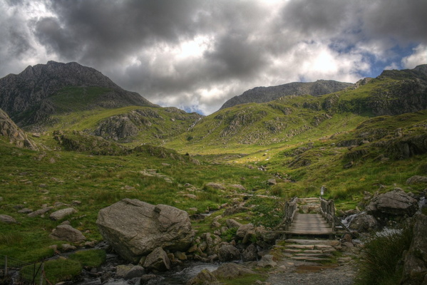 Tryfan and Glyder Fach from Idwal Cottage