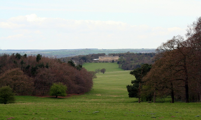 Harewood House from footpath on Lodge Hills