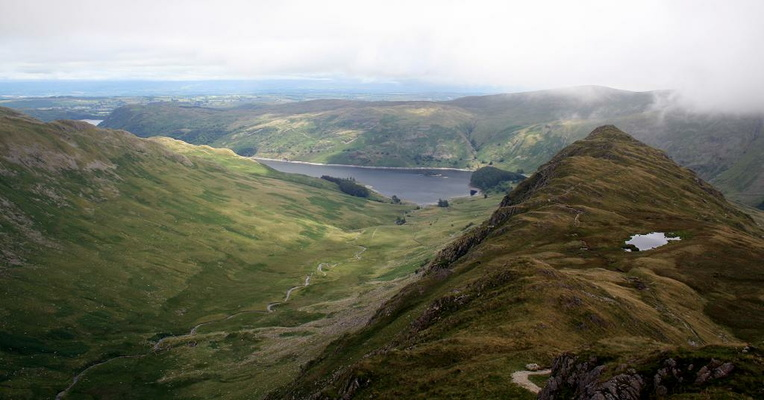 Looking over Rough Crag into Riggindale and Haweswater beyond