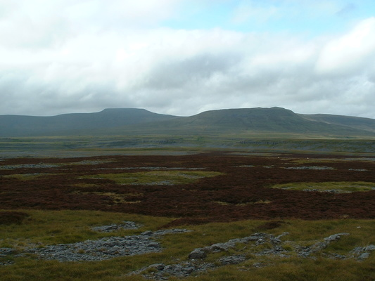 View of Ingleborough and Simon Fell from above Moughton Scars