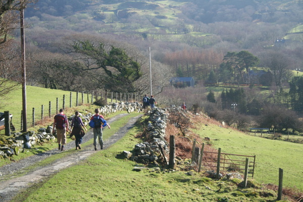 Purposeful walkers on farm track