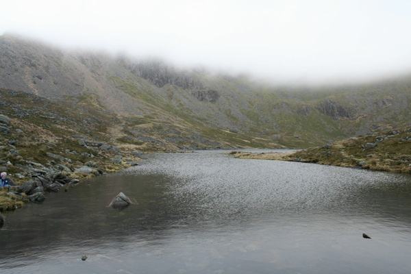 Llyn y Gadair with summit in cloud above