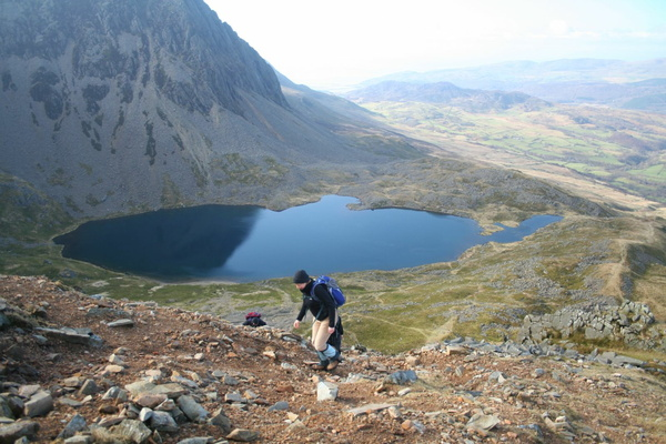 Climbing the scree above Llyn y Gadair