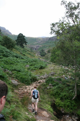 Starting to climb Stickle Ghyll