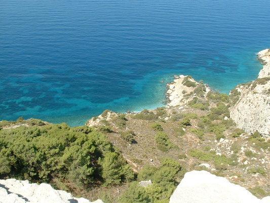 View from the castle down to the lush blue sea