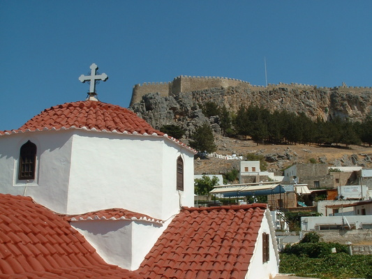 Church in the old town of Lindos