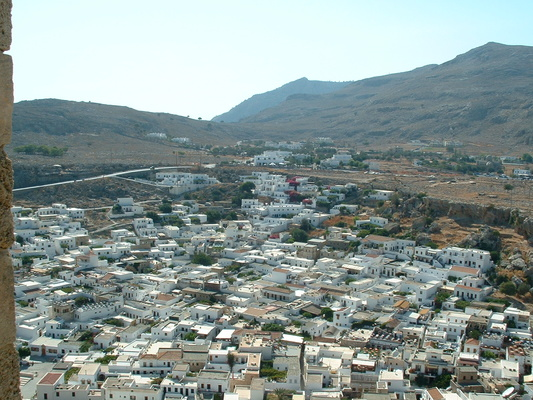 Looking down on Lindos town
