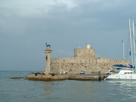The Stag guarding the entrance to Rhodes Old Town harbour - this is the fabled spot of the Colossus of Rhodes