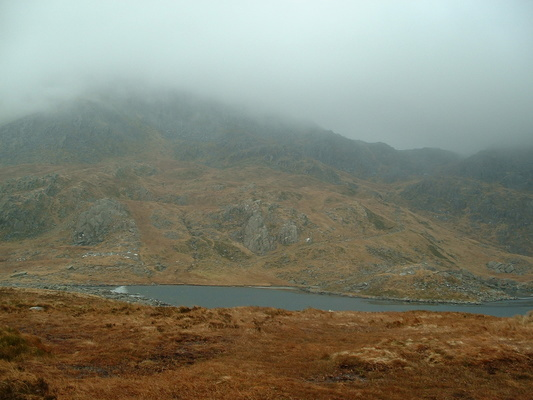 Looking up at Tryfan in the clouds