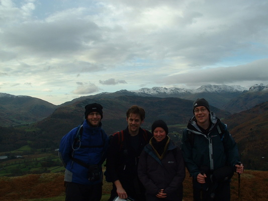Maurice, Frank, Heidi and Richard on summit of Loughrigg Fell
