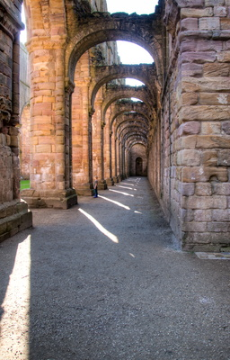 Fountains Abbey nave aisle