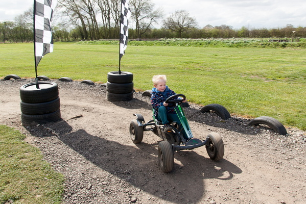Callum drives a pedal go-kart